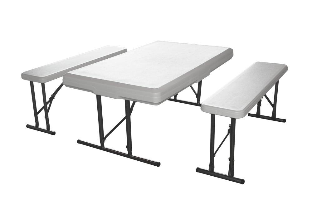 Набор мебели Green Glade, 3 предмета95471-000-00Набор мебели Green Glade предназначен для создания комфортных условий в туристических походах, охоте, рыбалке, кемпинге, а также на дачных участках. В набор входит стол и 2 скамейки. Каркас мебели выполнен из прочной стали. Размер скамейки: 113 см х 68 см х 72,5 см. Размер скамеек: 95 см х 23 см х 42 см. Толщина скамеек: 4,2 см.