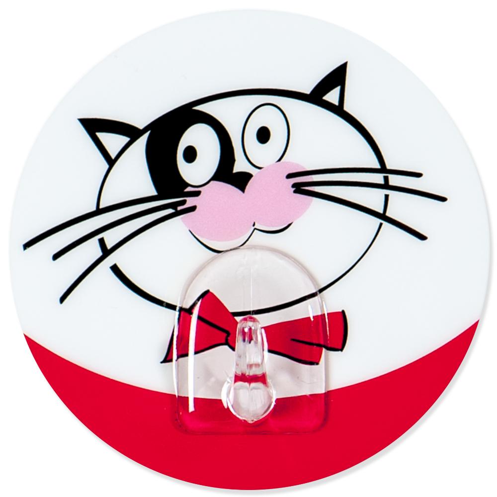 """Крючок адгезивный Tatkraft """"Funny cats"""" изготовлен из пластика и декорирован изображением кота. Крючок может быть установлен только на ровной воздухонепроницаемой поверхности: плитка, стекло, пластик, металл, ламинированное дерево и другие. Крючок является многоразовым, что позволяет перевесить его в любое удобное место. Крючок Tatkraft """"Funny cats"""" имеет авторский дизайн, который украсит любой интерьер.   Диаметр: 8 см. Длина крючка: 1,5 см.Максимальный вес: 3 кг."""