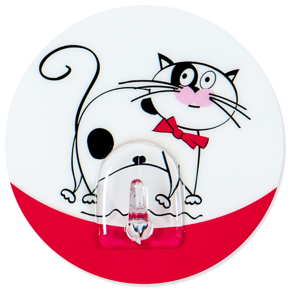 Крючок адгезивный Tatkraft Funny cats. 1824218242Крючок адгезивный Tatkraft Funny cats изготовлен из пластика и декорирован изображением кота. Крючок может быть установлен только на ровной воздухонепроницаемой поверхности: плитка, стекло, пластик, металл, ламинированное дерево и другие. Крючок является многоразовым, что позволяет перевесить его в любое удобное место. Крючок Tatkraft Funny cats имеет авторский дизайн, который украсит любой интерьер. Диаметр: 8 см. Длина крючка: 1,5 см.Максимальный вес: 3 кг.
