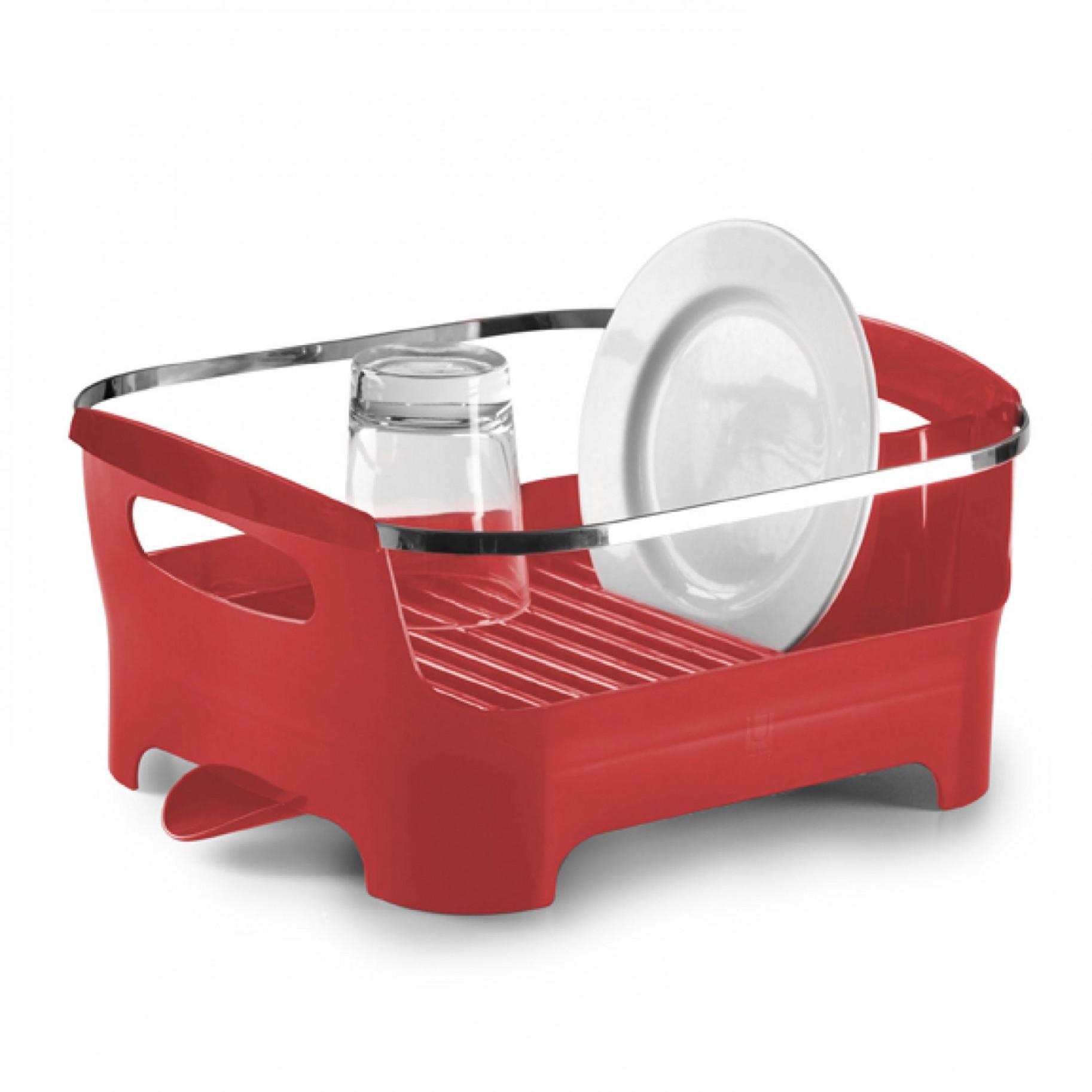 Сушилка для посуды Umbra Basin, цвет: красный, 38 х 33 х 17 см330591-505Сушилка для посуды Umbra Basin изготовлена из высококачественного пластика без содержания вредного бисфенола. Компактный дизайн изделия создает большое пространство для хранения и сушки посуды. Пространство для посуды ограждено бортиком, в котором есть удобные ручки для переноски, а главное, тарелки случайно не выпадут и не разобьются. Вода со свежевымытой посуды через желобки для тарелок стекает вниз, в специальное отделение, где собирается и выводится через носик на боку сушилки. Вы можете поставить ее в раковину или на рабочую поверхность рядом.Размер сушилки: 38 см х 33 см х 17 см.
