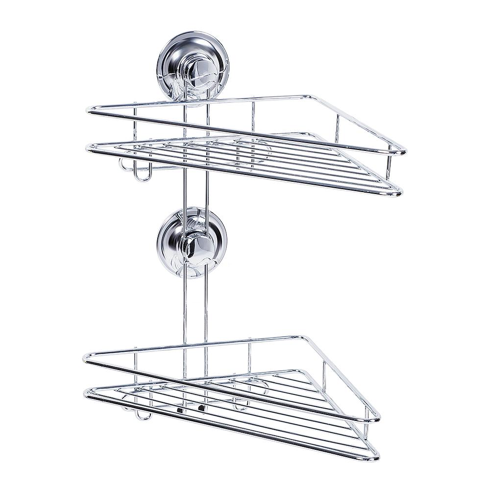 Полка двухъярусная Tatkraft Ring Lock, угловая, высота 36 см полка для ванной комнаты tatkraft mega lock vena цвет серый металлик