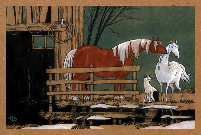 """Открытка """"Любовь и лошади"""". Из набора """"Про Лошадь"""". Автор Катя Бауман"""