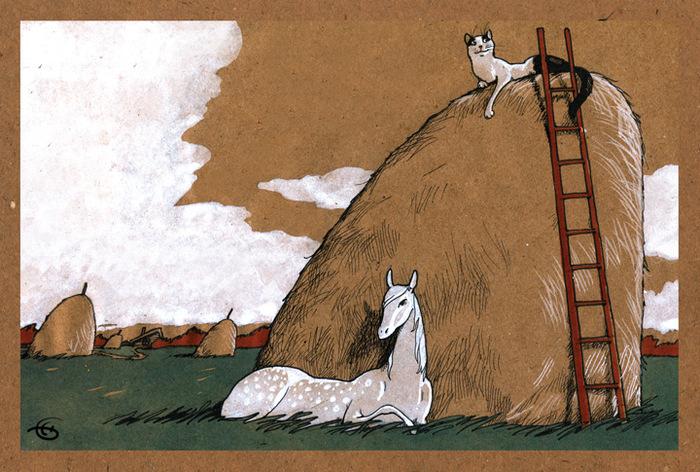 """Оригинальная дизайнерская открытка """"В ожидании Моне"""" из набора «Про лошадь» выполнена из плотного матового картона. На лицевой стороне расположена репродукция картины художника Екатерины Бауман. На задней стороне имеется поле для записей.  Такая открытка станет великолепным дополнением к подарку или оригинальным почтовым посланием, которое, несомненно, удивит получателя своим дизайном и подарит приятные воспоминания."""