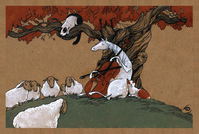 """Оригинальная дизайнерская открытка """"Сюита для виолончели №1"""" из набора «Про лошадь» выполнена из плотного матового картона. На лицевой стороне расположена репродукция картины художника Екатерины Бауман. На задней стороне имеется поле для записей.  Такая открытка станет великолепным дополнением к подарку или оригинальным почтовым посланием, которое, несомненно, удивит получателя своим дизайном и подарит приятные воспоминания."""
