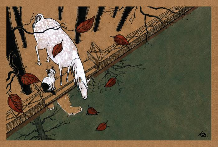 Открытка Зазеркалье. Из набора Про Лошадь. Автор Катя БауманPVC 2011/23Оригинальная дизайнерская открытка Зазеркалье из набора «Про лошадь» выполнена из плотного матового картона. На лицевой стороне расположена репродукция картины художника Екатерины Бауман. На задней стороне имеется поле для записей.Такая открытка станет великолепным дополнением к подарку или оригинальным почтовым посланием, которое, несомненно, удивит получателя своим дизайном и подарит приятные воспоминания.