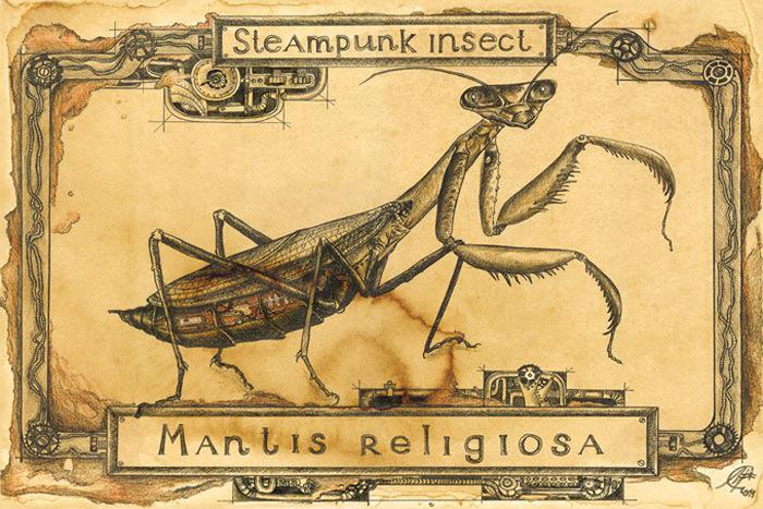 Открытка Богомол. Из серии Steampunk Insect. Автор Мария СкородумоваSM10-001Оригинальная дизайнерская открытка Богомол из серии Steampunk Insect выполнена из плотного матового картона. На лицевой стороне расположена репродукция картины художницы Скородумовой Марии.Такая открытка станет великолепным дополнением к подарку или оригинальным почтовым посланием, которое, несомненно, удивит получателя своим дизайном и подарит приятные воспоминания.