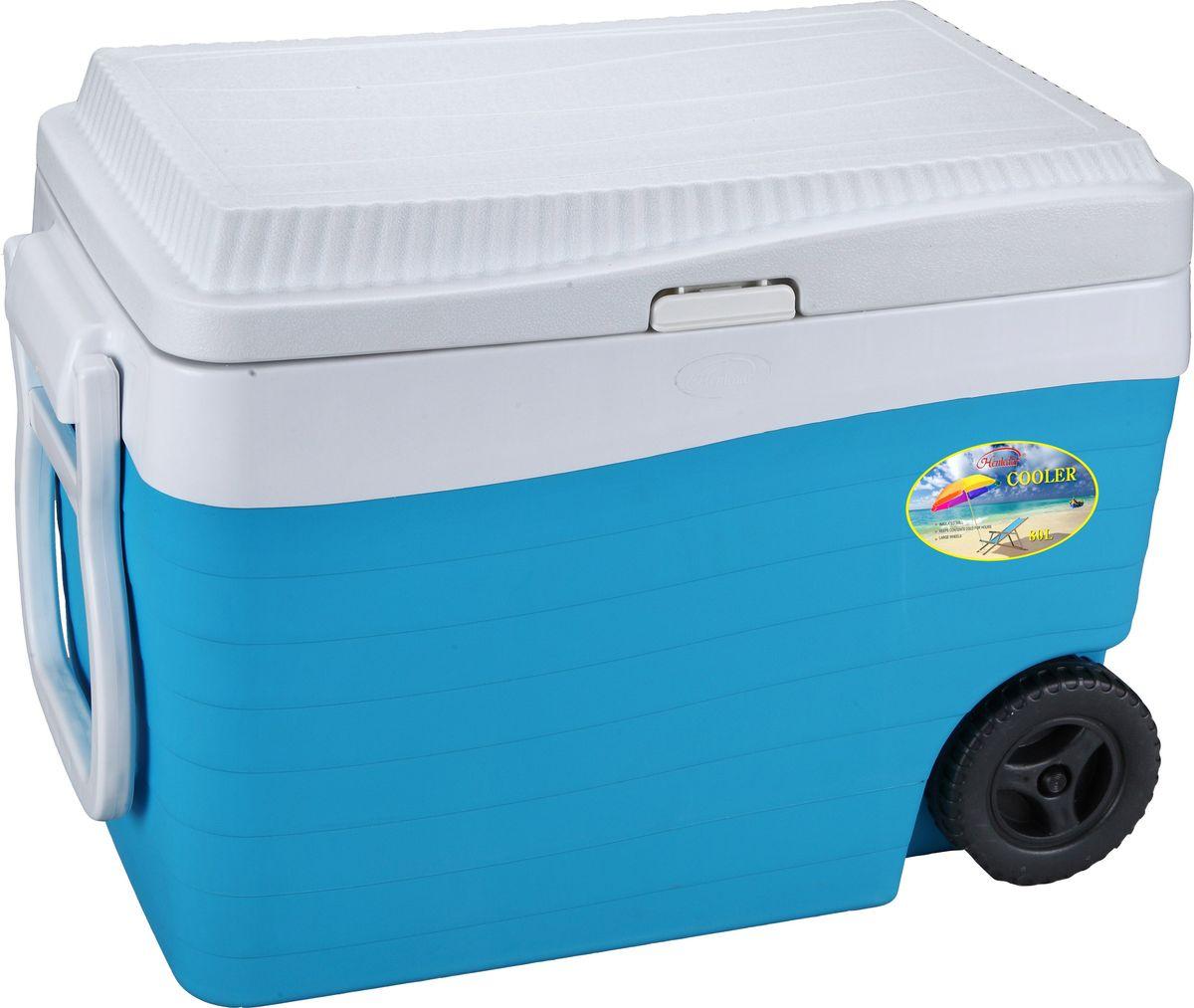 Контейнер изотермический Green Glade, на колесиках, цвет: голубой, 80 лС22800Удобный и прочный изотермический контейнер Green Glade предназначен для сохранения определенной температуры продуктов во время длительных поездок. Корпус и крышка контейнера изготовлены из высококачественного пластика. Между двойными стенками находится термоизоляционный слой, который обеспечивает сохранение температуры. У контейнера одно большое вместительное отделение. Крышка закрывается плотно на замок-защелку. У контейнера имеются два колеса и большая ручка для более удобной транспортировки. Также имеются две боковые ручки для переноски.В нижней части контейнера имеется заглушка, которая поможет слить воду при постепенном размораживании продуктов. При использовании аккумулятора холода контейнер обеспечивает сохранение продуктов холодными 12-14 часов. Контейнер такого размера идеально подойдет для пикника или для поездки на дачу, или просто для длительной поездки.Контейнеры Green Glade можно использовать не только для сохранения холодных продуктов, но и для транспортировки горячих блюд. В этом случае аккумуляторы нагреваются в горячей воде (температура около 80°С) и превращаются в аккумуляторы тепла. Подготовленные блюда перед транспортировкой подогреваются и укладываются в контейнер. Объем контейнера: 80 л.Размер контейнера: 64 см х 50 см х39 см.