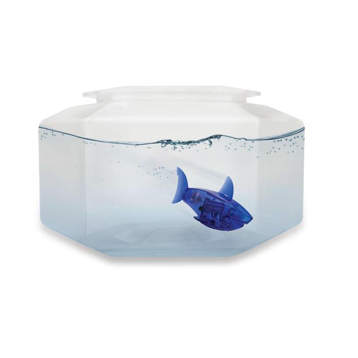 Микро-робот рыбка Hexbug Aquabot Shark, с аквариумом, цвет: синий