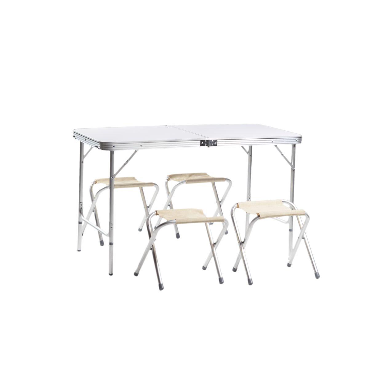 Набор мебели для пикника Green Glade М5102, 5 предметовМ5102Набор мебели Green Glade М5102 предназначен для создания комфортных условий в туристических походах, охоте, рыбалке и кемпинге.Особенности:Компактная складная конструкция.Прочный алюминиевый каркас 24 мм.Материал столешницы - МДВ.Удобная ручка для переноски.Сложенный стол можно использовать в качестве чемодана для переноски стульев.В комплекте 4 стальных кемпинговых стула.Размер стола: 120 см х 60 см х 70 см.Размер стульев: 29 см х 27 см х 37 см.