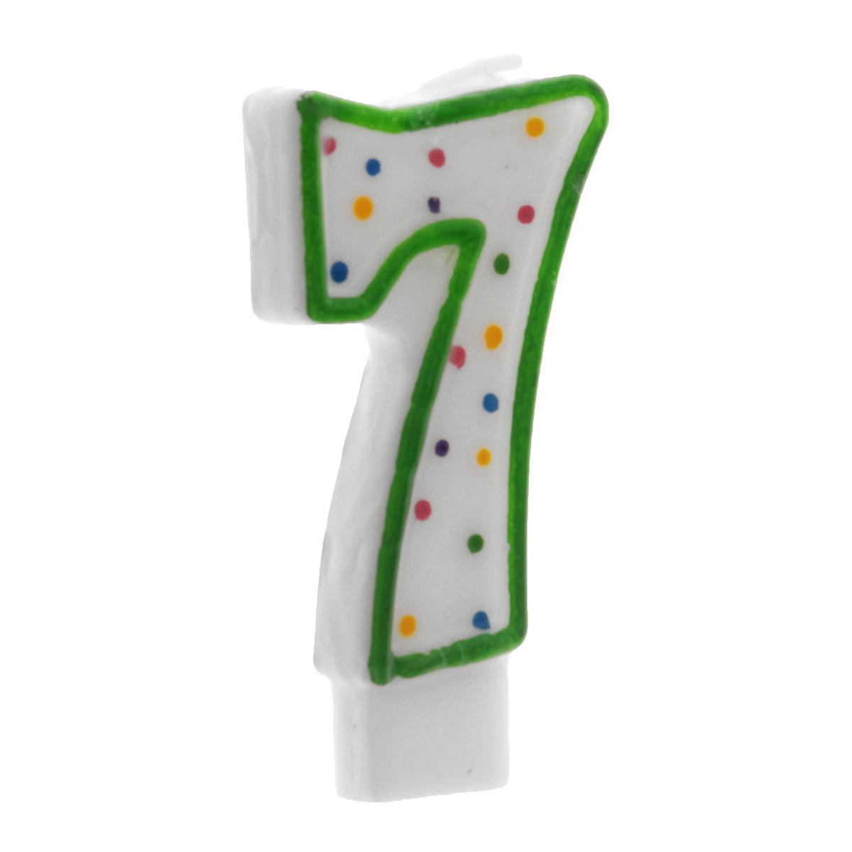 Свеча-цифра для торта Wilton Цифра 7, цвет: зеленый, высота 7,6 см свеча смурфики цифра 2 7 5 см 1 шт 21825