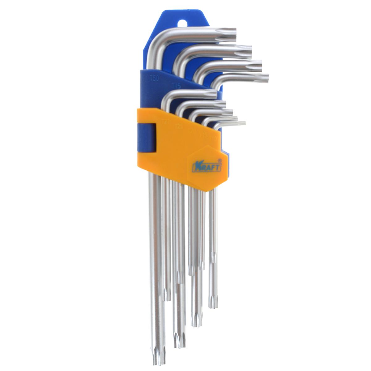 Набор ключей шестигранныхKraft Professional Torx, Т10 - Т50, 9 штКТ700566Набор шестигранных удлиненных ключей Kraft Professional Torx предназначен для работы с крепежными элементами, имеющими внутренний шестигранник. Каждый ключ изготовлен из хромованадиевой стали и оснащен наконечником с рабочим профилем torx. В набор входят ключи: Т10, Т15, Т20, Т25, Т27, Т30, Т40, Т45, Т50.