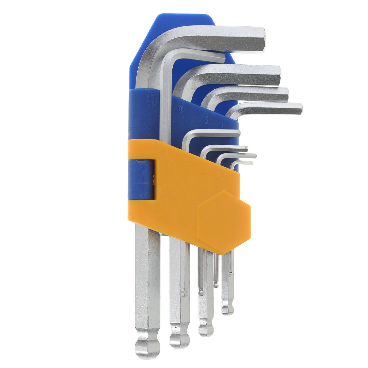 Набор ключей шестигранных Kraft Professional, коротких, с шаром, 1,5 мм - 10 мм, 9 штКТ700564Набор шестигранных коротких ключей Kraft Professional предназначен для работы с крепежными элементами, имеющими внутренний шестигранник. Каждый ключ изготовлен из хромованадиевой стали и оснащен шаровым наконечником, который позволяет работать в труднодоступных местах под углом до 25 градусов. В набор входят ключи: 1,5 мм, 2 мм, 2,5 мм, 3 мм, 4 мм, 5 мм, 6 мм, 8 мм, 10 мм.