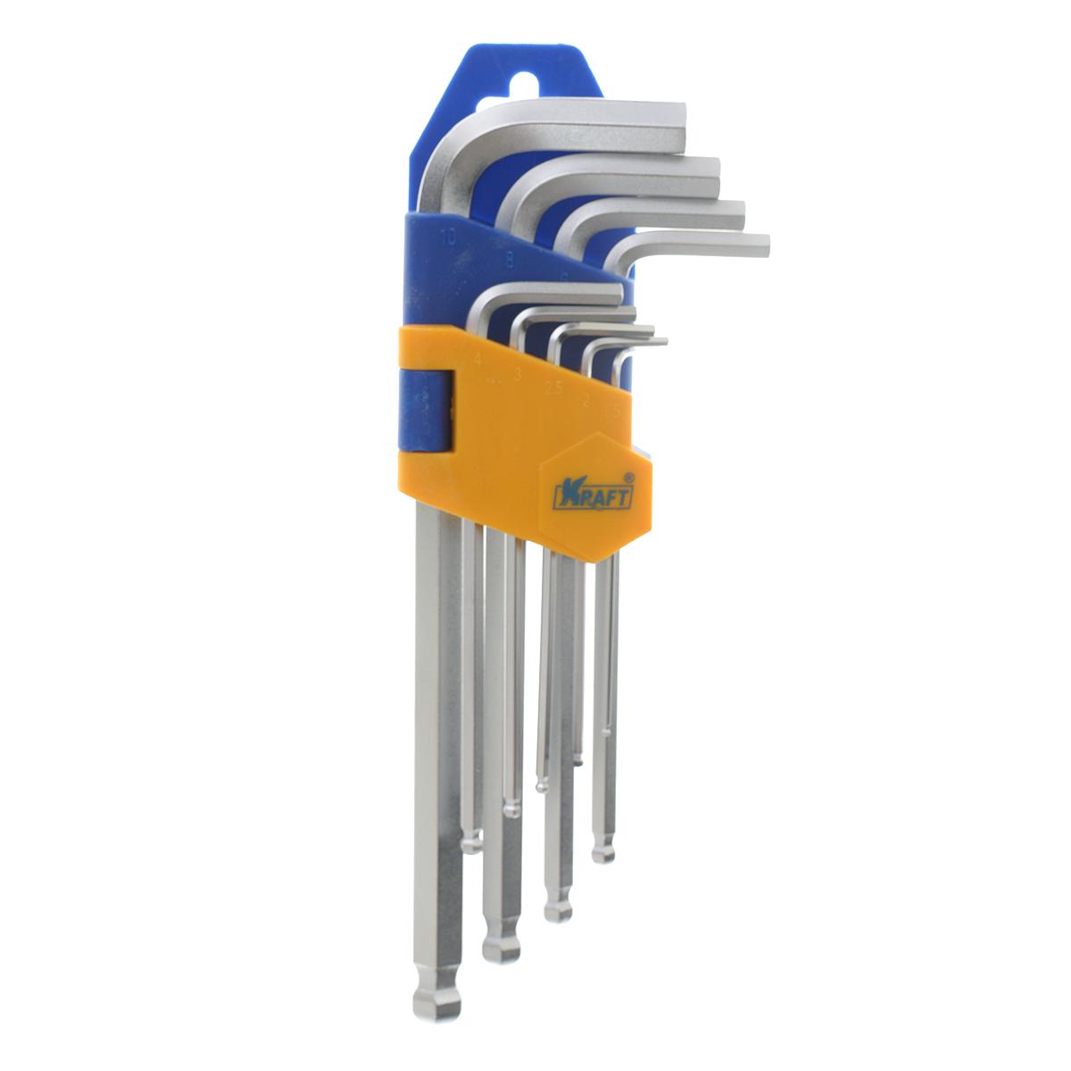 Набор ключей шестигранных Kraft Professional, с шаром, 1,5 мм - 10 мм, 9 шт. КТ700563КТ700563Набор шестигранных ключей Kraft Professional предназначен для работы с крепежными элементами, имеющими внутренний шестигранник. Каждый ключ изготовлен из хромованадиевой стали и оснащен шаровым наконечником, который позволяет работать в труднодоступных местах под углом до 25 градусов. В набор входят ключи: 1,5 мм, 2 мм, 2,5 мм, 3 мм, 4 мм, 5 мм, 6 мм, 8 мм, 10 мм.