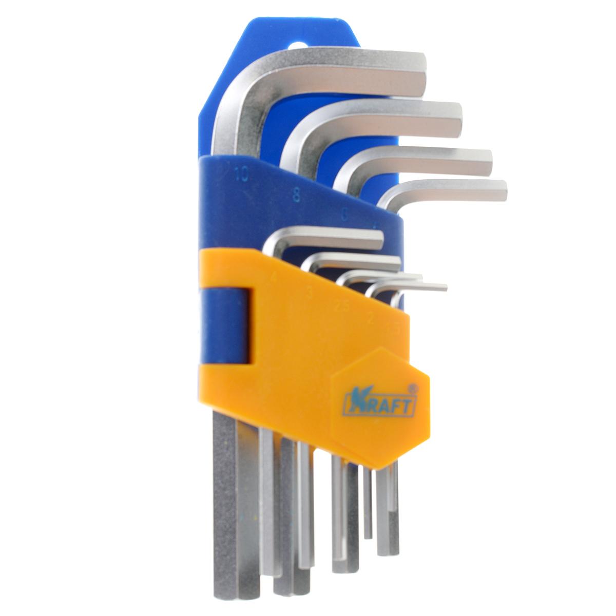 Набор ключей шестигранных Kraft Professional, коротких, 1,5 мм - 10 мм, 9 штКТ700570Набор шестигранных удлиненных ключей Kraft Professional предназначен для работы с крепежными элементами, имеющими внутренний шестигранник. Все ключи выполнены из высококачественной хромованадиевой стали. Твердость по Роквеллу 52-55 HRc.В набор входят ключи: 1,5 мм, 2 мм, 2,5 мм, 3 мм, 4 мм, 5 мм, 6 мм, 8 мм, 10 мм.