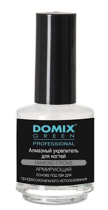 Domix Green Professional Алмазный укрепитель для ногтей, 17 мл616-106940Domix Алмазный укрепитель для ногтей 17мл. Средство выравнивает поверхность ногтевой пластины, предупреждает изменение цвета ногтей. Создает прочную подложку под лак, предохраняет покрытие от растрескивания. Имплантированная в состав алмазная пудра образует на поверхности ногтей армирующую сетку, которая укрепляет и надежно защищает покрытые лаком ногти.