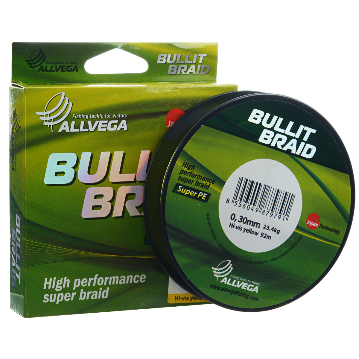 Леска плетеная Allvega Bullit Braid, цвет: ярко-желтый, 92 м, 0,3 мм, 23,4 кг