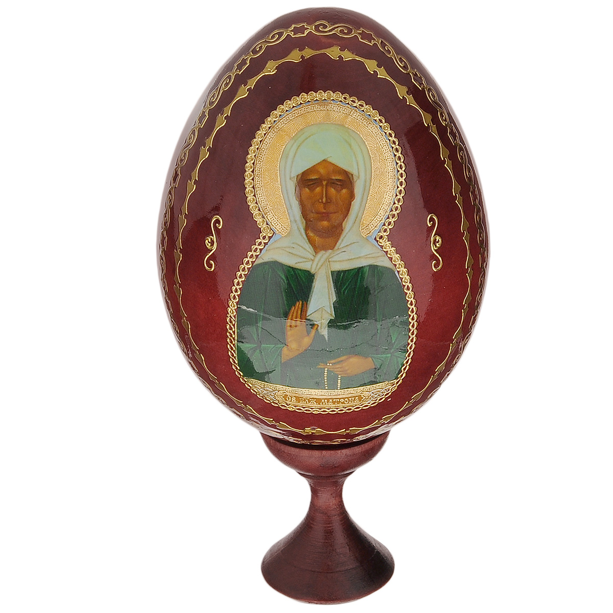 Яйцо декоративное Sima-land Матрона Московская, на подставке, высота 15 см sima land антистрессовая игрушка заяц хрустик 05 цвет красный