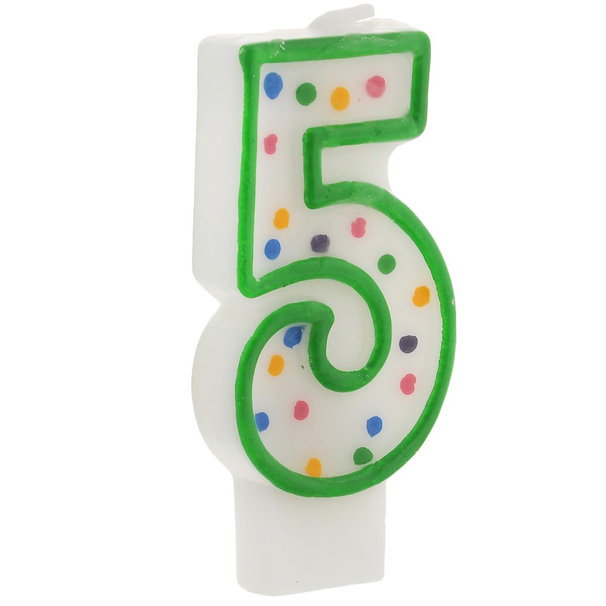 Свеча-цифра для торта Wilton  Цифра 5 , цвет: зеленый, высота 7,6 см -  Свечи для торта