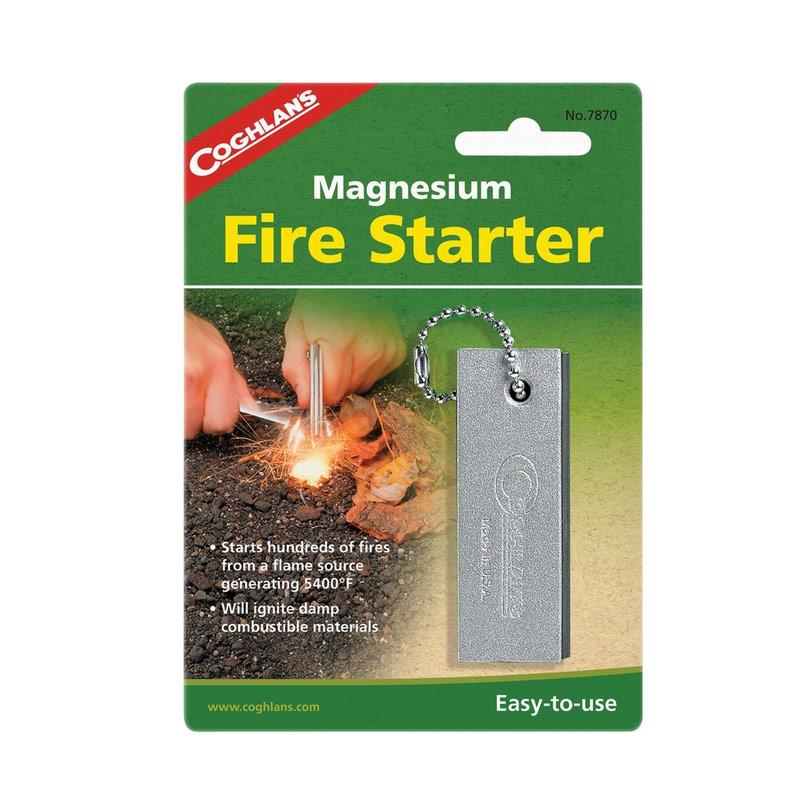Огниво Coghlans, 8 см х 2,5 см х 1 см7870Огниво Coghlans - незаменимая в любом походе или путешествии вещь. Представляет собой очень легкий и компактный брусок для разведения костра. Изделие изготовлено из магния, что позволяет ему быть максимально эффективным! Использовать огниво просто: магниевая стружка будет выступать в роли трута, а прикрепленный стержень - это надежный источник искры. Температура, с которой будет гореть магниевая стружка, составляет 2982°C. Огниво Coghlans будет незаменимым для туристов, охотников, рыбаков, сотрудников разведывательных служб.Размер огнива: 8 см х 2,5 см х 1 см.Материал: магний.