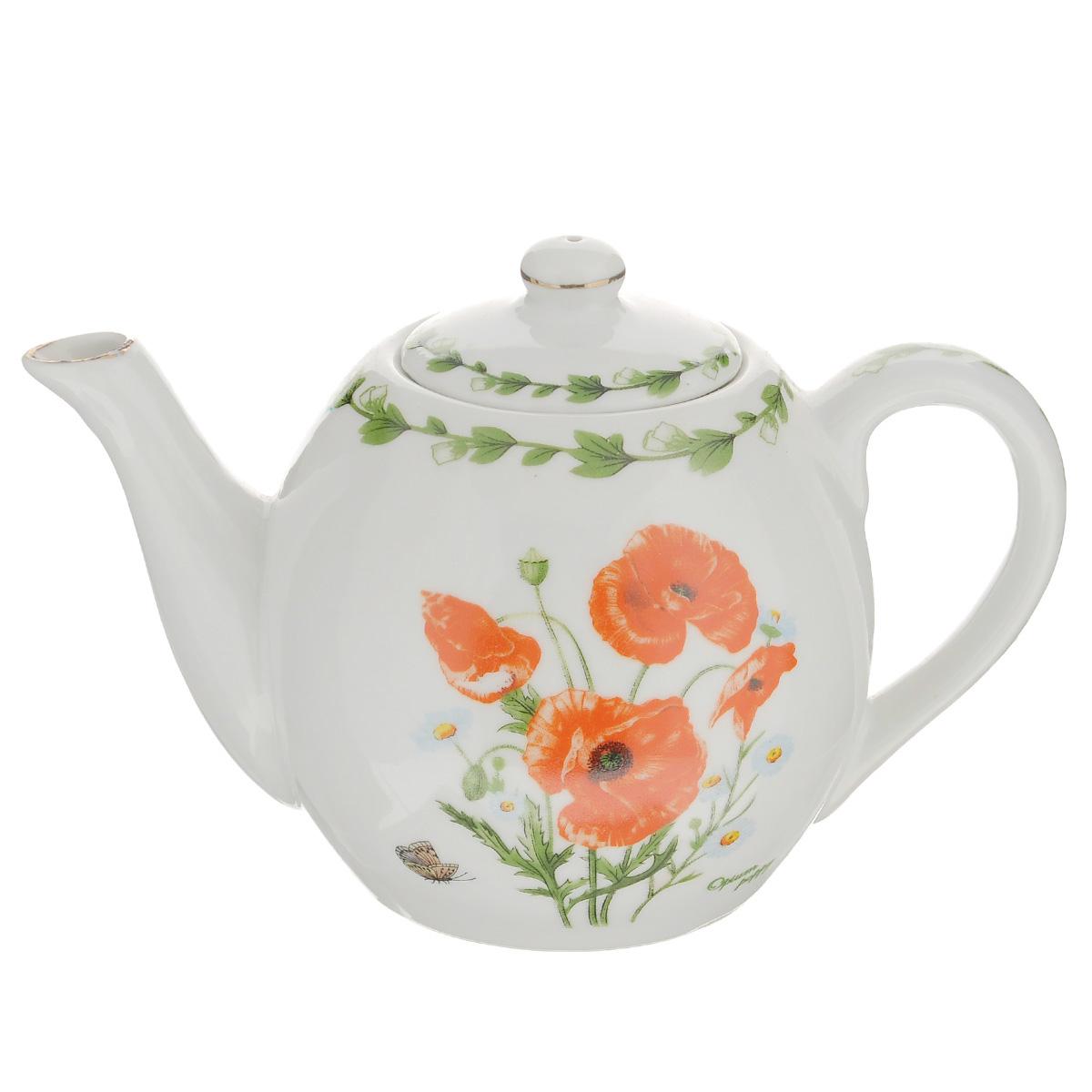 Чайник заварочный Briswild Маки на поляне, 650 мл543-290Заварочный чайник Briswild Маки на поляне изготовлен из высококачественного фарфора и покрыт слоем сверкающей глазури. Посуда оформлена красочным изображением красных маков. Такой чайник прекрасно дополнит сервировку стола к чаепитию и станет его неизменным атрибутом. Не использовать в микроволновой печи. Объем: 650 мл. Диаметр (по верхнему краю): 7 см. Высота стенки (без учета крышки): 10 см.