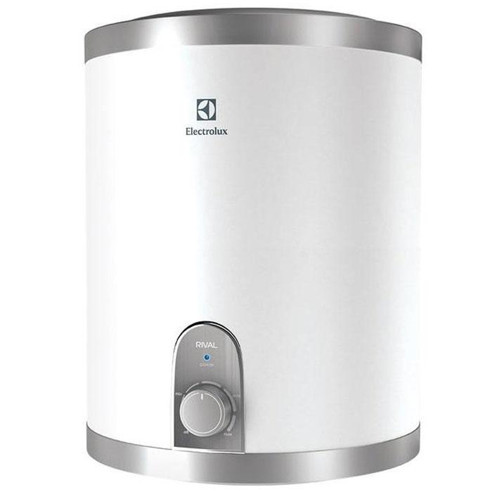 Electrolux EWH 10 Rival O водонагревательEWH 10 Rival OВодонагреватель Electrolux EWH 10 Rival O (подключение воды снизу) обладает компактными размерами при высокой производительности. Данная модель имеет нижнее подключение к источнику воды. Electrolux EWH 10 Rival O идеален для установки в небольших помещениях. Предусмотрена возможность выбора экономичного режима нагрева, что позволяет обеспечить горячей водой даже большую семью.Внутренний бак изготовлен из нержавеющей стали, одобренной для применения в медицине и пищевом производстве. Для нагрева воды используются медные нагревательные элементы с никелированным покрытием, которое значительно увеличивает рабочий ресурс устройства. При помощи ручки управления можно настроить необходимый уровень температуры воды. В качестве дополнительной защиты нагревательного элемента установлен магниевый анод для предотвращения оседания известковых отложений. Специальный термостат не дает воде нагреться выше 75°C, а защита от сухого нагрева отключает нагревательный элемент в случае отсутствия воды в баке. Для эффективной теплоизоляции приборов использован 22-миллиметровый слой вспененного полиуретана.Время нагрева до 75 °С: 32 минИндикатор времени нагрева