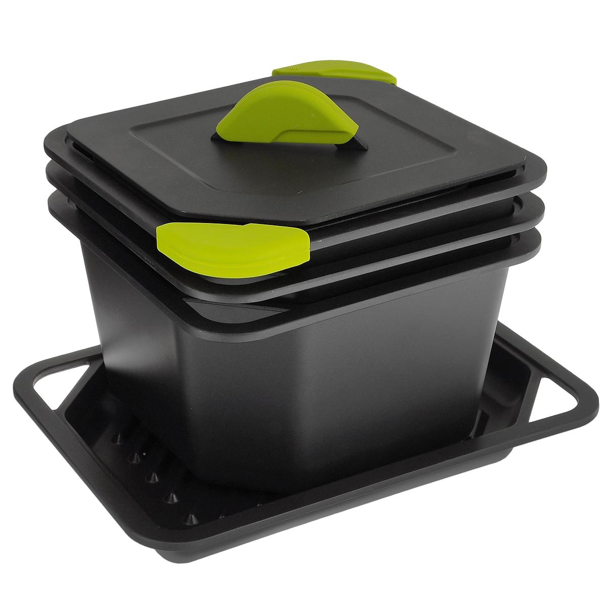 Набор посуды Iris Barcelona Quadro, с антипригарным покрытием, 9 предметов7105-AНабор посуды Iris Barcelona Quadro - это инновационный набор сковородок необычной формы, который позволяет готовить пищу как на плите, так и в духовке. Сковороды представляют собой формы, в которых можно и жарить, и запекать, и варить. В наборе имеется одна глубокая сковорода, одна средняя сковорода, одна низкая сковорода, прямоугольная сковорода-гриль, 2 крышки и 3 силиконовые прихватки. Посуда выполнена из прочного литого алюминия, который гарантирует равномерное распределение тепла и превосходное приготовление пищи. Не содержит вредной примеси PFOA. Посуда имеет антипригарное покрытие Ilag, выполненное по швейцарской технологии. Три слоя покрытия Durit Select делают посуду устойчивой к появлению царапин и облегчают процесс мытья. Материал изделия невероятно прочен и не теряет свою форму длительное время. Эргономичная форма посуды позволяет использовать для приготовления пищи сразу все сковороды, они поместятся и на газовой, и на стеклокерамической плите. Поэтому можно готовить сразу несколько блюд, а разная глубина изделий предусматривает разные способы обработки пищи: варка, тушение, гриль или жарка. Сковорода-гриль позволит приготовить здоровую пищу. Благодаря специальным желобкам, лишний жир будет стекать вниз. Это позволит пище избегать контакта с излишками жиров и сохранить свои пищевые свойства. В наборе имеются 2 крышки, их можно использовать двумя разными способами: полностью закрыть сковороду, что предотвратит выход пара наружу и сделает вкус блюд насыщенным, или повернуть крышку на 90° и дать воздуху свободно циркулировать. Съемные силиконовые прихватки обеспечивают безопасное использование. Их можно надеть на ручки сковород или на ручки крышек. Сковороды удобно складываются друг в друга, что выгодно экономит пространство на кухне. Посуду можно использовать на всех типах плит, включая индукционные, а также в духовом шкафу. Объем сковород: 1,7 л; 3,7 л; 5,5 л. Внутренний разм