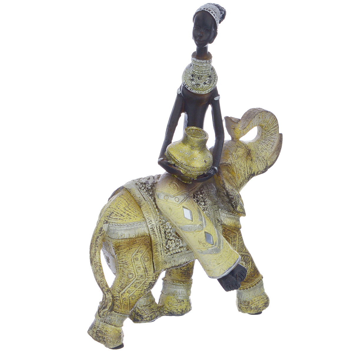 Фигурка декоративная Molento Африканка и слон, высота 20,5 см549-200Декоративная фигура Molento Африканка и слон, изготовленная из полистоуна, позволит вам украсить интерьер дома, рабочего кабинета или любого другого помещения оригинальным образом. Изделие, выполненное в виде африканской женщины на слоне, оформлено рельефным рисунком и блестками.С такой декоративной фигурой вы сможете не просто внести в интерьер элемент оригинальности, но и создать атмосферу загадочности и изысканности.Размер фигурки: 15,5 см х 7 см х 20,5 см.