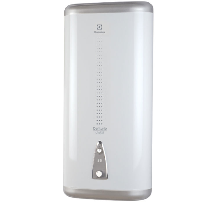 Electrolux EWH 50 Centurio DL водонагревательEWH 50 Centurio DLElectrolux серии EWH 50 Centurio H - накопительный водонагреватель с высокими антикоррозийными свойствами. Технология производства внутреннего бака из нержавеющей стали, высококачественные материалы и современная технология аргонной сварки обеспечивают высокую надёжность водонагревателя. Внутренний бак устройства сделан из низкоуглеродистой нержавеющей стали, одобренной для использования в медицине и пищевом производстве.В качестве дополнительной защиты нагревательного элементаустановлен магниевый анод, удаляющий минеральные вещества и соли, входящие в состав накипи, предотвращая оседание известковых отложений. Теплоизоляция водонагревателя изготовлена из экологически чистого вспененного полиуретана. Многоступенчатая система безопасности включает в себя защитный термостат, предотвращающий перегрев, предохранительный сливной клапан, защищающий водонагреватель от избыточного давления и устройство защитного отключения, защищающее от поражения электрическим током в случае нарушения электрической изоляции. Также предусмотрена защита от сухого нагрева, которая отключает нагревательный элемент, если в водонагревателе отсутствует вода.Для удобства использования установлен LED дисплей с бело-голубой подсветкой, который показывает температуру воды. С помощью ручки регулировки температуры можно установить экономичный режим нагрева до 50-55 градусов, что позволяет экономить электроэнергию.Время нагрева до 75°С: 70 минутУзкая форма и компактные размеры (глубина от 25,5 см)