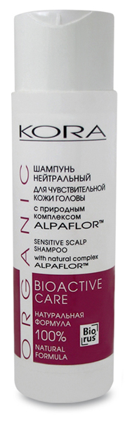 KORA Шампунь нейтральный для чувствительной кожи головы с природным комплексом Alpaflor, 250 мл5128Мягкий шампунь на основе растительных компонентов способствует бережному очищению волос, чувствительной и раздраженной кожи головы. Улучшает питание волосяных луковиц, смягчает, освежает волосы, придает им эластичность, гладкость и блеск. НАТУРАЛЬНЫЕ ПАВы не раздражают кожу головы, оказывают увлажняющее и успокаивающее действие, помогая снять неприятные ощущения: зуд и раздражение, возникающие в результате окрашивания волос или другого внешнего воздействия на кожу головы. НЕ СОДЕРЖИТ КРАСИТЕЛЕЙ, СУЛЬФАТОВ, СИЛИКОНОВ. ПОДХОДИТ ДЛЯ ЧАСТОГО ПРИМЕНЕНИЯ.