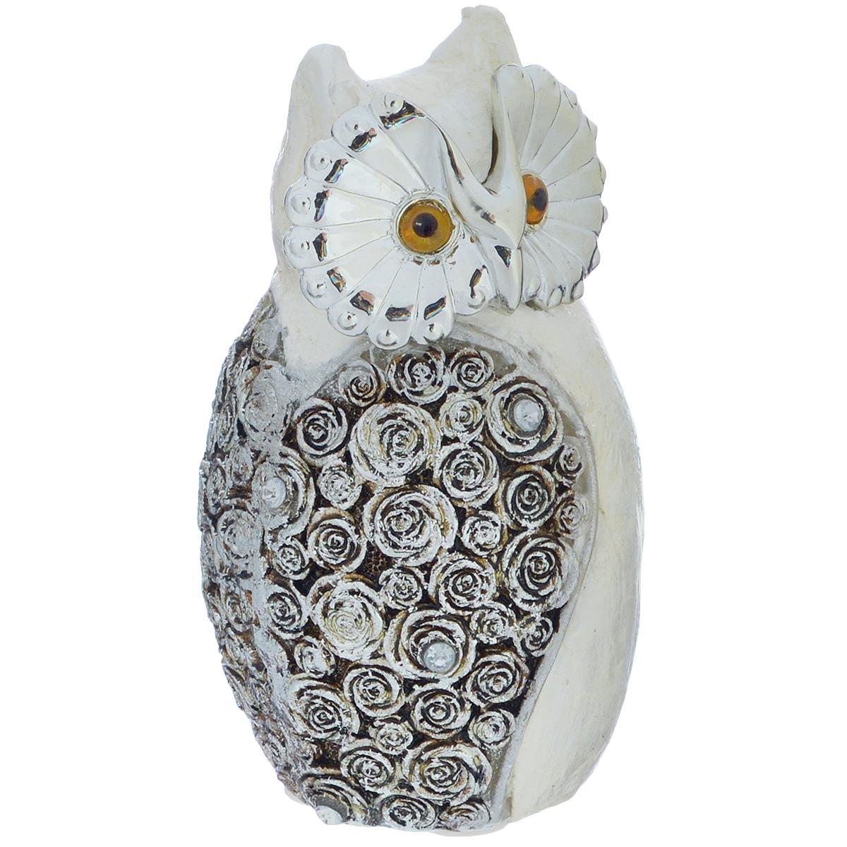 Фигурка декоративная Molento Серебристая сова, высота 10,5 см
