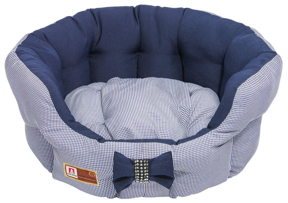 Лежак для собак и кошек Зоогурман Каприз, цвет: синий, диаметр 45 см зоогурман консервы для собак зоогурман спецмяс деликатес желудочки куриные 250 г