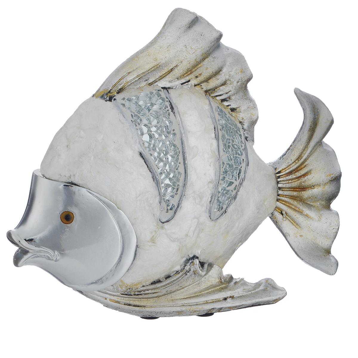 Фигурка декоративная Molento Серебристая рыба, высота 15 см549-187Декоративная фигурка Molento Серебристая рыба, изготовленная из полистоуна и украшенная зеркальной россыпью, выполнена в виде рыбы. Такая фигурка станет отличным дополнением к интерьеру.Вы можете поставить фигурку в любом месте, где она будет удачно смотреться, и радовать глаз. Кроме того, фигурка Серебристая рыба станет чудесным сувениром для ваших друзей и близких. Размер фигурки: 19 см х 5 см х 15 см.