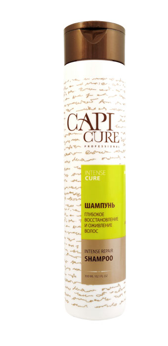 CapiCure Шампунь Глубокое восстановление и Оживление волос, 300 мл02041401Шампунь Глубокое восстановление и Оживление волосIntense Repair ShampooС помощью активных восстанавливающих компонентов и мощных антиоксидантов шампунь CapiCure возвращает к жизни глубоко поврежденные и ослабленные волосы. Входящий в состав шампуня низкомолекулярный активный комплекс с протеинами сои проникает под чешуйки волоса, восстанавливая поврежденные участки, насыщая необходимыми белками и аминокислотами. Защитный комплекс с маслом жожоба и витамином Е активизирует процесс восстановления, обволакивает волос по всей длине, разглаживая поверхность и запечатывая лечебные компоненты внутри. Растительные экстракты восстанавливают нормальную жизнедеятельность луковиц, добавляют эластичности и мерцающего блеска. Благодаря высокоэффективной формуле шампунь предотвращает электризацию волос, защищает от сечения и ломкости, без утяжеления.CapiCure – это система комплексного восстановления волос после длительных и агрессивных повреждений. Все продукты серии предназначены и максимально эффективны для глубинного восстановления волос, дополняют действие друг друга и обеспечивают стойкий результат - увлажненные, живые и блестящие волосы. Значки: не содержит парабены, не тестируется на животных, косметическая продукцияГОСТ 31696-2012Произведено под контролем Манн & Шрёдер ГмбХ, Банхофштрассе 14, D-74936, Зигельсбах, Германия. Производитель: ООО Манн и Шредер Руссланд, Россия, МО, 141700, г. Долгопрудный, Лихачевский пр-д, 10