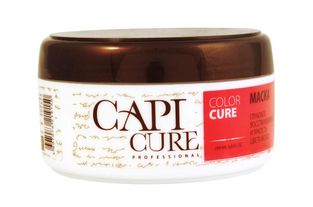 CapiCure Маска Глубокое восстановление и Яркость цвета волос, 200 мл02045202Маска Глубокое восстановление и Яркость цвета волосColor Protect MaskГлубоко восстанавливающая маска CapiCure с формулой для защиты цвета окрашенных волос эффективно препятствует вымыванию красителя, сохраняет насыщенность и яркость цвета, придает интенсивное сияние волосам. Комплекс растительных протеинов выравнивает структуру волоса по всей длине, восстанавливая поврежденные участки, возвращая волосам эластичность и здоровый блеск. Защитный комплекс с питательным маслом ши и подсолнечника обволакивает волос от корня до кончика, разглаживая поверхность и запечатывая лечебные компоненты внутри. Глубоко кондиционирующая формула увлажняет, распутывает и укрепляет волосы, без утяжеления. CapiCure – это система комплексного восстановления волос после длительных и агрессивных повреждений. Все продукты серии предназначены и максимально эффективны для глубинного восстановления волос, дополняют действие друг друга и обеспечивают стойкий результат - увлажненные, живые и блестящие волосы.