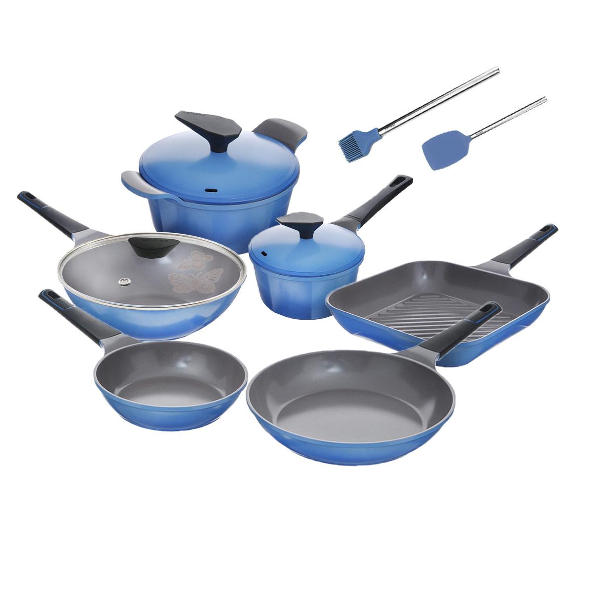 Набор посуды Frybest Azure, с керамическим покрытием, цвет: васильковый, 11 предметов кастрюля frybest azure с крышкой цвет голубой серый 4 5 л
