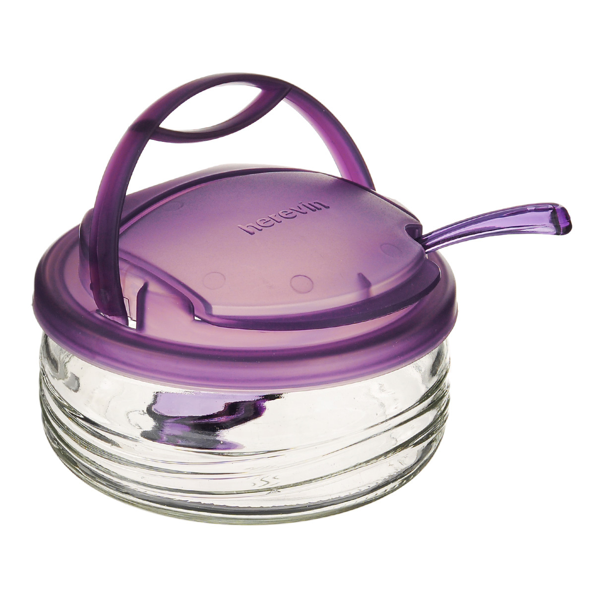 Сахарница Vera, с ложечкой, цвет: фиолетовый, 410 млS131555Сахарница Vera выполнена из высококачественного стекла и оснащена удобной съемной пластиковой крышкой. Крышка имеет специальное отверстие с поднимающимся козырьком. Чтобы насыпать сахар, вам достаточно будет поднять козырек и зачерпнуть нужное количество сахара. В набор входит специальная пластиковая ложечка. Такая оригинальная сахарница непременно украсит любой стол и прекрасно впишется в интерьер кухни. Объем: 410 мл.Диаметр сахарницы (по верхнему краю): 12 см.Высота сахарницы (с учетом крышки): 7 см. Длина ложечки: 13 см. Размер рабочей поверхности ложечки: 3,5 см х 3 см.