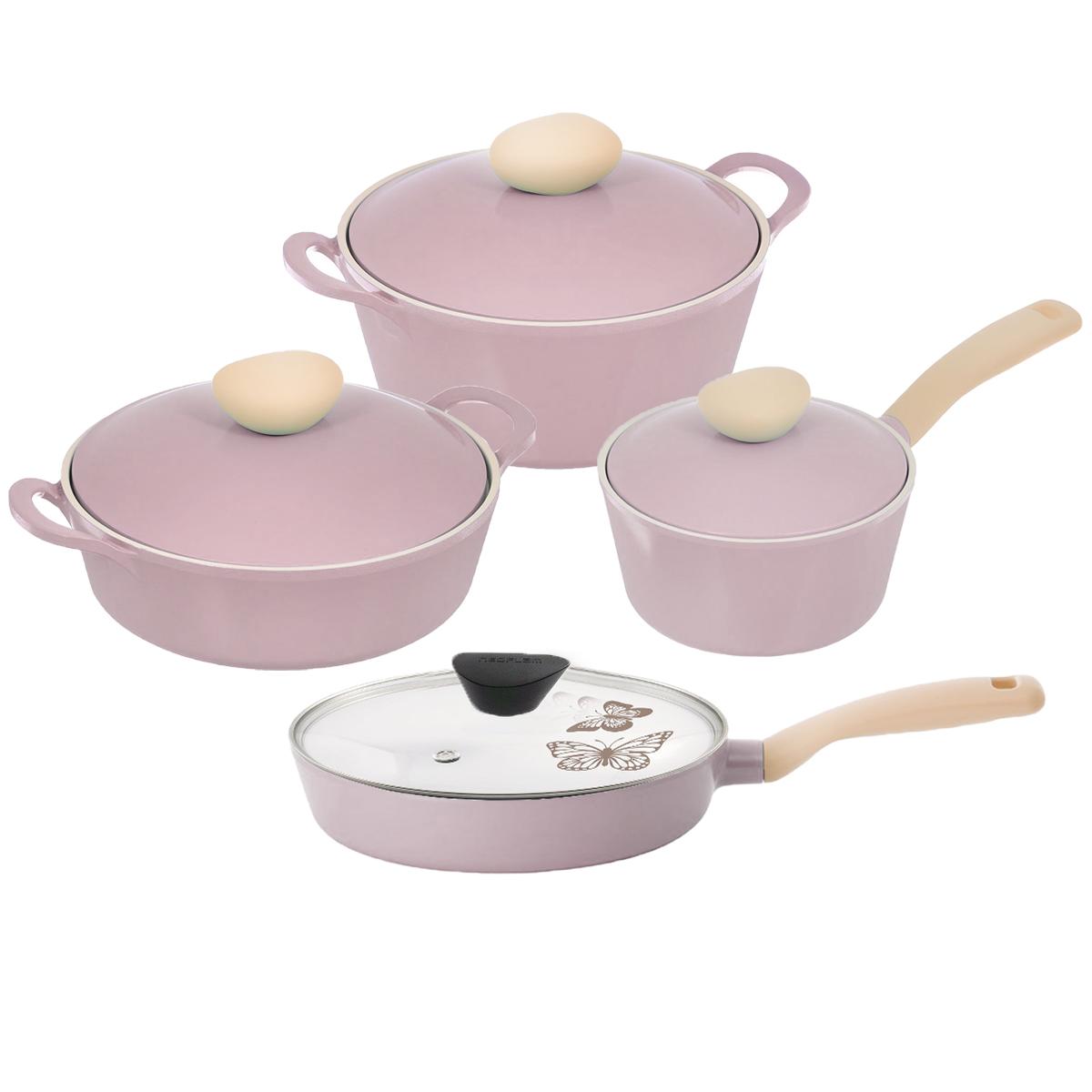 Набор посуды Frybest Round, с керамическим покрытием, цвет: розовый, 8 предметовROUND-N22-PНабор посуды Frybest Round выполнен из алюминия с внутренним и внешним керамическим покрытием Ecolon Superior. Такое покрытие устойчиво к повреждениям и не содержит вредных компонентов, так как изготовлено из натуральных материалов.Ключевые преимущества:- интегрированная система пароотвода, спрятанная внутри стильной бобышки в виде морского камня, предотвращает выкипание,- посуда из алюминия весит в 3 раза меньше, чем посуда из чугуна, - новейшее более стойкое керамическое покрытие последнего поколения: устойчивость к царапинам, истиранию и химическим реакциям,- внутри и снаружи - керамическое покрытие нового поколения профессионального уровня с высокими антипригарными свойствами, изделия произведены с использованием натуральных минеральных ингредиентов. Посуда не содержит PFOA и PTFE,- тело и крышка посуды из литого алюминия вместе создают эффект теплообмена, сохраняя пар внутри для более эффективного приготовления пищи,- утолщенное дно посуды- для лучшего распространения тепла и экономии энергии. В состав набора входит: - жаровня с крышкой,- кастрюля с крышкой, - сотейник с крышкой,- ковш с крышкой.Объем кастрюли: 2,8 л.Диаметр кастрюли: 22 см.Высота стенок кастрюли: 10 см.Ширина кастрюли (с учетом ручек): 29,5 см.Диаметр дна кастрюли: 17 см.Диаметр сотейника: 26 см.Высота стенок сотейника: 8 см.Длина ручки сотейника: 18,5 см.Объем ковша: 1,8 л.Диаметр ковша: 18 см.Длина ручки ковша: 18 см.Высота стенок ковша: 9,7 см.Диаметр дна ковша: 15 см.Объем жаровни: 2 л.Диаметр жаровни: 22 см.Высота стенок жаровни: 7,2 см.Ширина жаровни (с учетом ручек): 29,5 см.Диаметр дна жаровни: 19 см.Толщина стенок посуды: 4 см.Толщина дна посуды: 6,5 мм. Можно мыть в посудомоечной машине. Подходит для электрических, газовых, стеклокерамических и индукционных плит.