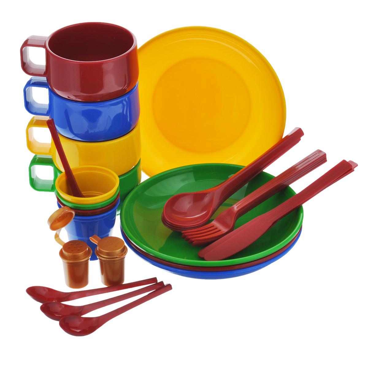 Набор посуды Solaris, на 4 персоныS1401Компактный минималистичный набор посуды Solaris на 4 персоны, в удобной виниловой сумке с ручкой и молнией.Свойства посуды:Посуда из ударопрочного пищевого полипропилена предназначена для многократного использования. Легкая, прочная и износостойкая, экологически чистая, эта посуда работает в диапазоне температур от -25°С до +110°С. Можно мыть в посудомоечной машине. Эта посуда также обеспечивает:Хранение горячих и холодных пищевых продуктов;Разогрев продуктов в микроволновой печи;Приготовление пищи в микроволновой печи на пару (пароварка);Хранение продуктов в холодильной и морозильной камере;Кипячение воды с помощью электрокипятильника.Комплектация набора на 4 персоны:4 тарелки;4 чашки объемом 0,28 л;4 стакана с мерными делениями объемом 0,1 л;4 вилки;4 столовых ложки;4 ножа;4 чайные ложки;2 солонки.Диаметр тарелок: 19 см.Высота тарелок: 3 см.Высота стаканов: 6,3 см.Диаметр стаканов: 6,5 см.Высота чашек: 6,5 см.Диаметр чашек: 9,5 см.Длина вилок: 19 см.Длина ложек: 19 см.Длина ножей: 19 см.Длина чайных ложек: 13,5 см.