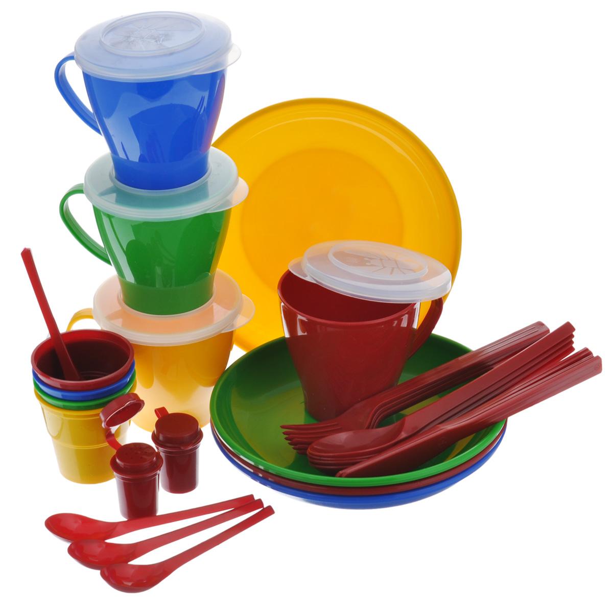 Набор посуды Solaris Универсальный, на 4 персоныS1402Компактный многофункциональный набор посуды Solaris Универсальный на 4 персоны, в удобной виниловой сумке с ручкой и молнией.Свойства посуды:Посуда из ударопрочного пищевого полипропилена предназначена для многократного использования. Легкая, прочная и износостойкая, экологически чистая, эта посуда работает в диапазоне температур от -25°С до +110°С. Можно мыть в посудомоечной машине. Эта посуда также обеспечивает:Хранение горячих и холодных пищевых продуктов;Разогрев продуктов в микроволновой печи;Приготовление пищи в микроволновой печи на пару (пароварка);Хранение продуктов в холодильной и морозильной камере;Кипячение воды с помощью электрокипятильника.Состав набора:4 тарелки; 4 чашки для супа/напитка с герметичной крышкой, объем 0,36 л;4 стакана с мерными делениями, объем 0,1 л;4 вилки;4 ложки столовых;4 ножа;4 ложки чайных;2 солонки.Диаметр тарелок: 19 см.Высота тарелок: 3 см.Высота стаканов: 6,3 см.Диаметр стаканов: 6,5 см.Высота чашек: 9 см.Диаметр чашек по верхнему краю (без учета ручки): 9 см.Длина ложек: 19 см.Длина ложек: 19 см.Длина ножей: 19 см.Длина чайных ложек: 13,5 см.