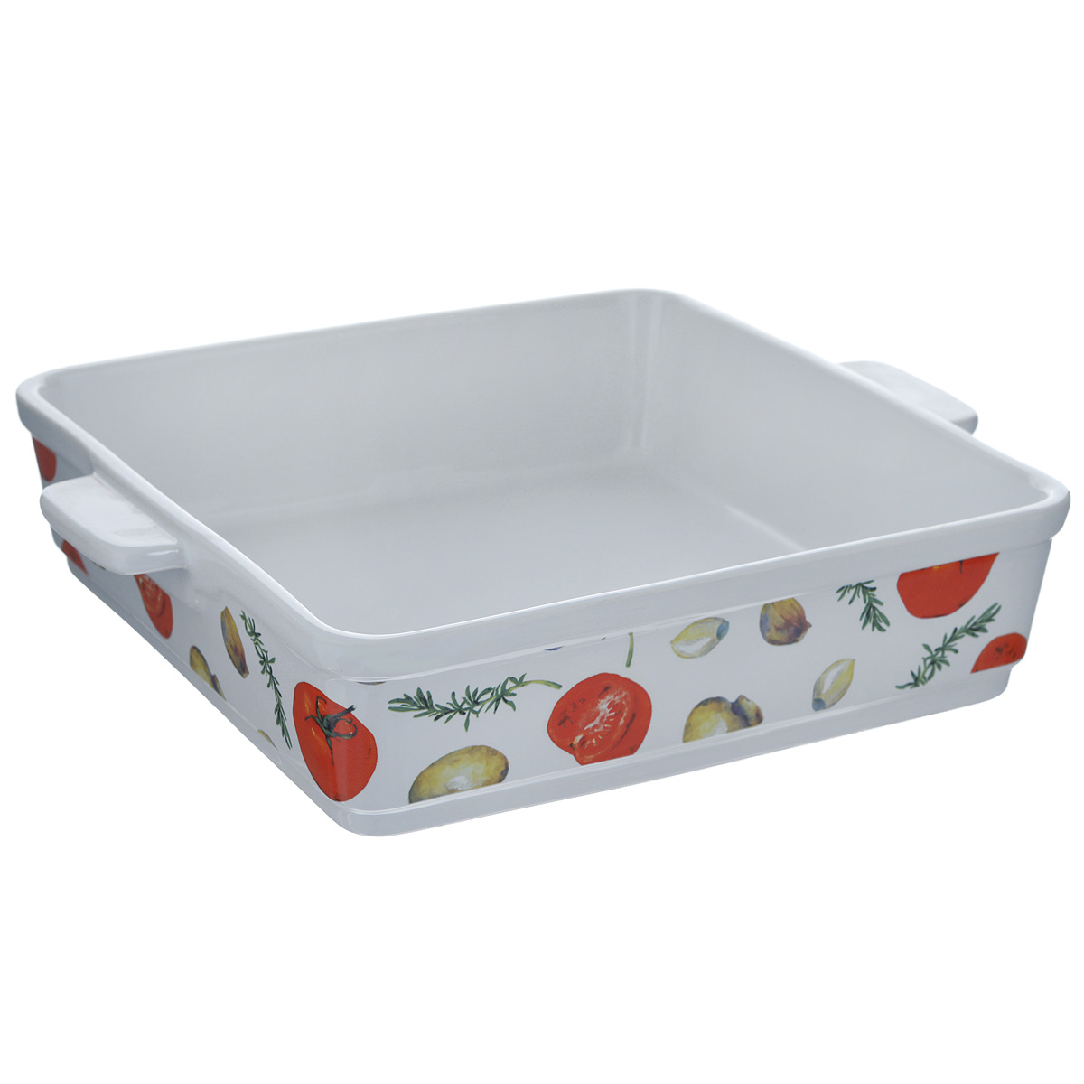 """Квадратная форма для запекания Едим Дома """"Прованс"""" изготовлена из   жаропрочной керамики, покрытой глазурью. Такая керамика выдерживает   температуру от -30°С до +220°С, что позволяет использовать ее и в   холодильнике, и в духовке. Изделие декорировано изображением овощей. Форма   идеальна для запекания мяса и овощей. Оснащена удобными ручками.   Можно использовать в микроволновой печи и духовке. Можно мыть в   посудомоечной машине.  Внутренний размер формы: 26 см х 26 см.  Размер формы (с учетом ручек): 31 см х 26 см.  Высота стенки: 7 см.   Как выбрать форму для выпечки – статья на OZON Гид."""