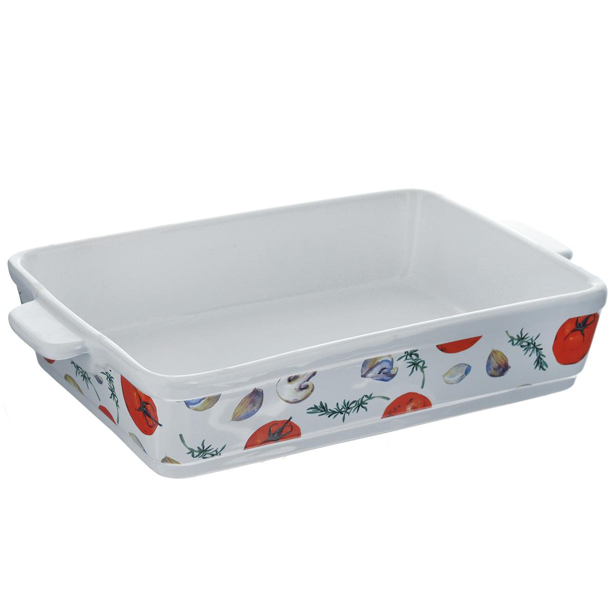 """Прямоугольная форма для запекания Едим Дома """"Прованс"""" изготовлена из   жаропрочной керамики, покрытой глазурью. Такая керамика выдерживает   температуру от -30°С до +220°С, что позволяет использовать ее и в   холодильнике, и в духовке. Изделие декорировано изображением овощей. Форма   идеальна для запекания мяса и овощей. Оснащена удобными ручками.   Можно использовать в микроволновой печи и духовке. Можно мыть в   посудомоечной машине.  Внутренний размер формы: 31 см х 21 см.  Размер формы (с учетом ручек): 36 см х 21 см.  Высота стенки: 7 см.     Как выбрать форму для выпечки – статья на OZON Гид."""