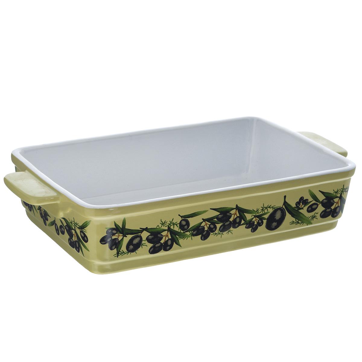 """Прямоугольная форма для запекания Едим Дома """"Тоскана"""" изготовлена из   жаропрочной керамики, покрытой глазурью. Такая керамика выдерживает   температуру от -30°С до +220°С, что позволяет использовать ее и в   холодильнике, и в духовке. Изделие декорировано изображением оливок. Форма   идеальна для запекания мяса и овощей. Оснащена удобными ручками.   Можно использовать в микроволновой печи и духовке. Можно мыть в   посудомоечной машине.  Внутренний размер формы: 26 см х 17,7 см.  Размер формы (с учетом ручек): 31 см х 17,7 см.  Высота стенки: 6 см.     Как выбрать форму для выпечки – статья на OZON Гид."""
