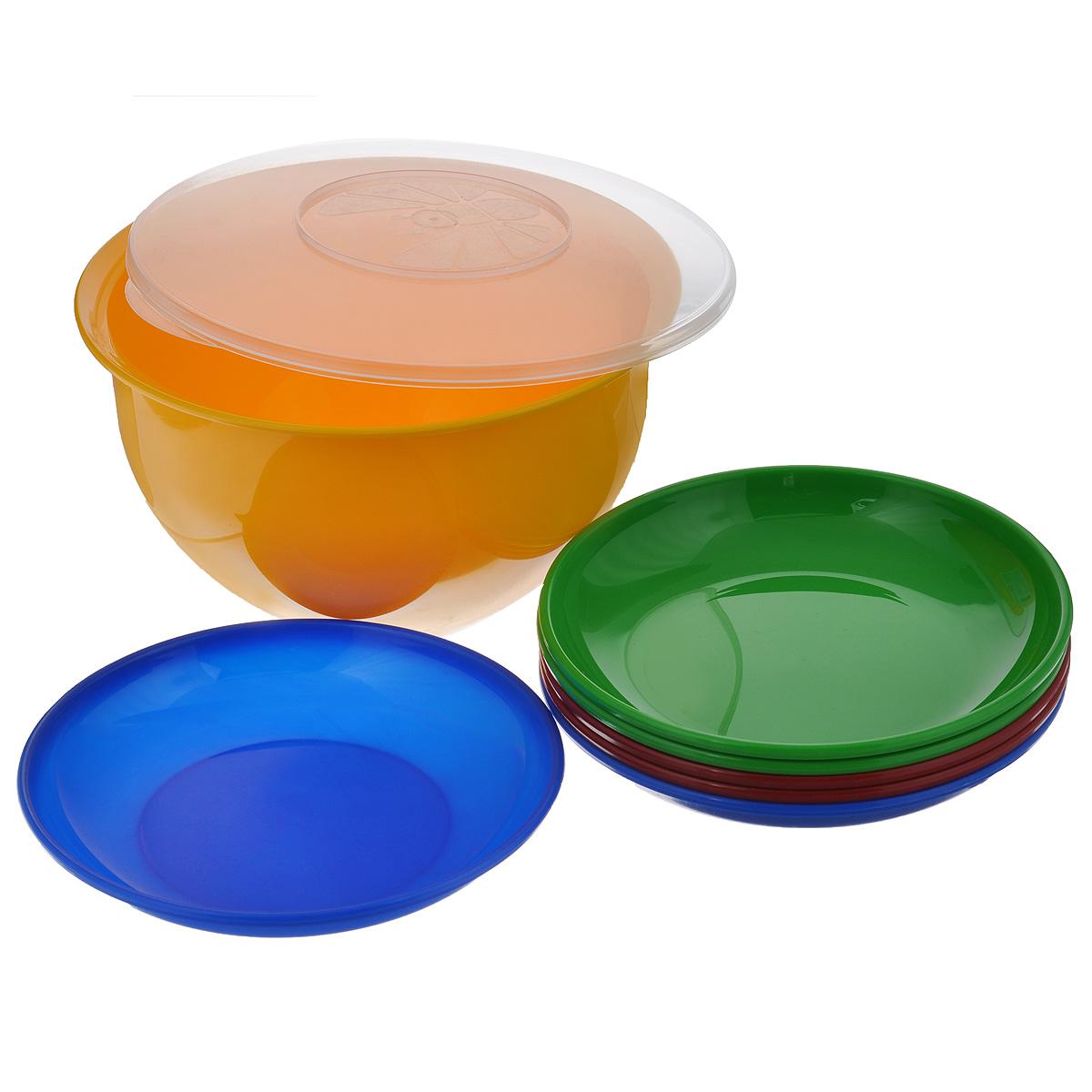 """В состав набора """"Solaris"""" входит 6 тарелок и большая миска с герметичной крышкой. Большую миску можно использовать как пищевой контейнер, для приготовления салата, мариновки шашлыка и т.п.Свойства посуды:Посуда из ударопрочного пищевого полипропилена предназначена для многократного использования. Легкая, прочная и износостойкая, экологически чистая, эта посуда работает в диапазоне температур от -25°С до +110°С. Можно мыть в посудомоечной машине. Эта посуда также обеспечивает:Хранение горячих и холодных пищевых продуктов;Разогрев продуктов в микроволновой печи;Приготовление пищи в микроволновой печи на пару (пароварка);Хранение продуктов в холодильной и морозильной камере;Кипячение воды с помощью электрокипятильника.Объем миски: 3 л.Диаметр миски: 22,5 см.Высота миски: 12,7 см.Диаметр тарелок: 19 см.Высота тарелок: 3 см."""