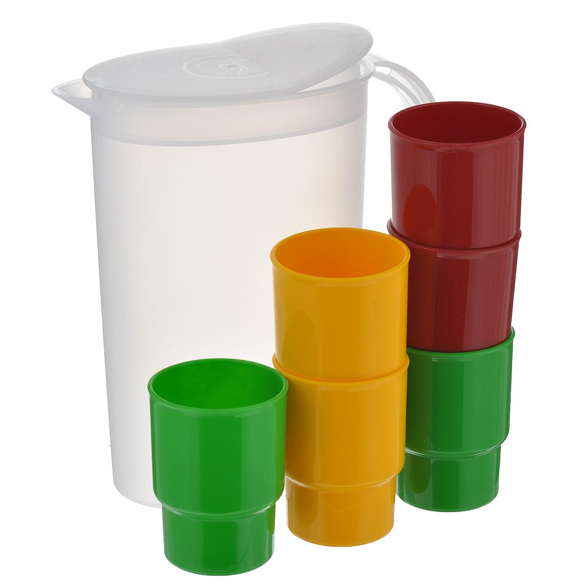 """6 толстостенных эргономичных стаканов """"Solaris"""" из качественного полипропилена, в кувшине с полупрозрачными стенками. Кувшин снабжен съемной крышкой-клапаном. Крышка кувшина имеет 2 рабочих положения: открыто/закрыто.Сведения о посуде:Посуда из ударопрочного пищевого полипропилена предназначена для многократного использования. Легкая, прочная и износостойкая, экологически чистая, эта посуда работает в диапазоне температур от -25°С до +110°С. Можно мыть в посудомоечной машине. Эта посуда также обеспечивает:Хранение горячих и холодных пищевых продуктов;Разогрев продуктов в микроволновой печи;Приготовление пищи в микроволновой печи на пару (пароварка);Хранение продуктов в холодильной и морозильной камере;Кипячение воды с помощью электрокипятильника.В походном положении стаканы находятся внутри кувшина.Диаметр стаканов: 6,5 см.Высота стаканов: 9,5 см.Объем стаканов: 0,25 л.Высота кувшина: 24,5 см.Длина кувшина (без учета ручки): 18 см.Ширина кувшина: 11 см.Объем кувшина: 2,2 л."""