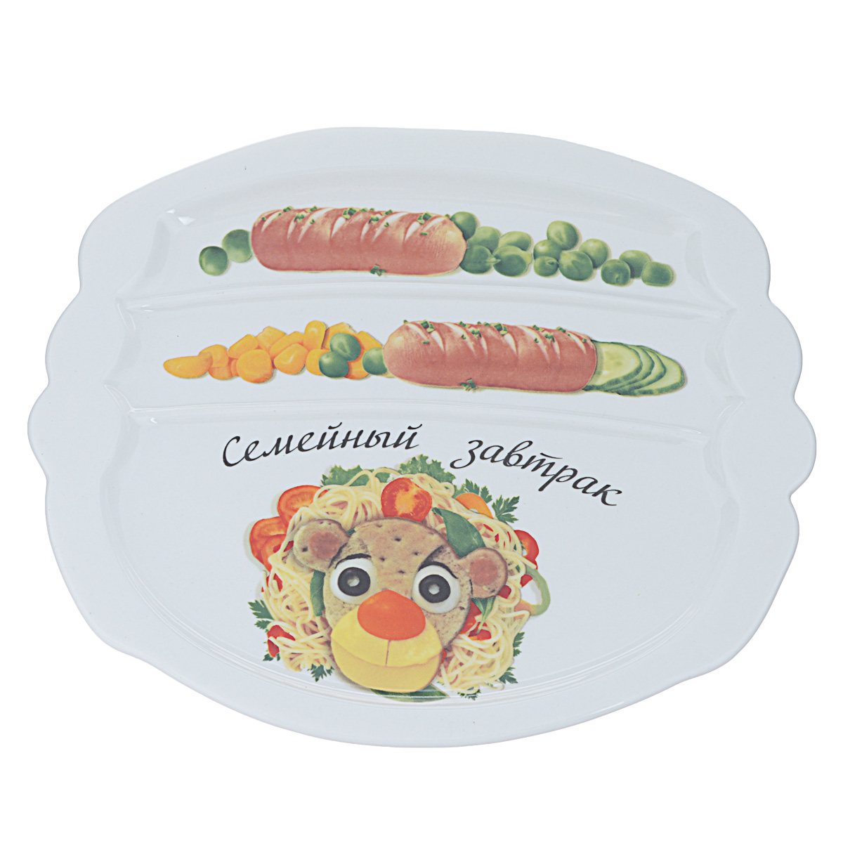 Тарелка для завтрака LarangE Семейный завтрак у льва, 22,5 х 19 x 1,5 см589-313Тарелка для завтрака LarangE изготовлена из высококачественной керамики. Изделие украшено ярким изображением. Тарелка имеет три отделения: 2 маленьких отделения для сосисок и одно большое отделение для яичницы или другого блюда. Можно использовать в СВЧ печах, духовом шкафу и холодильнике. Не применять абразивные чистящие вещества.
