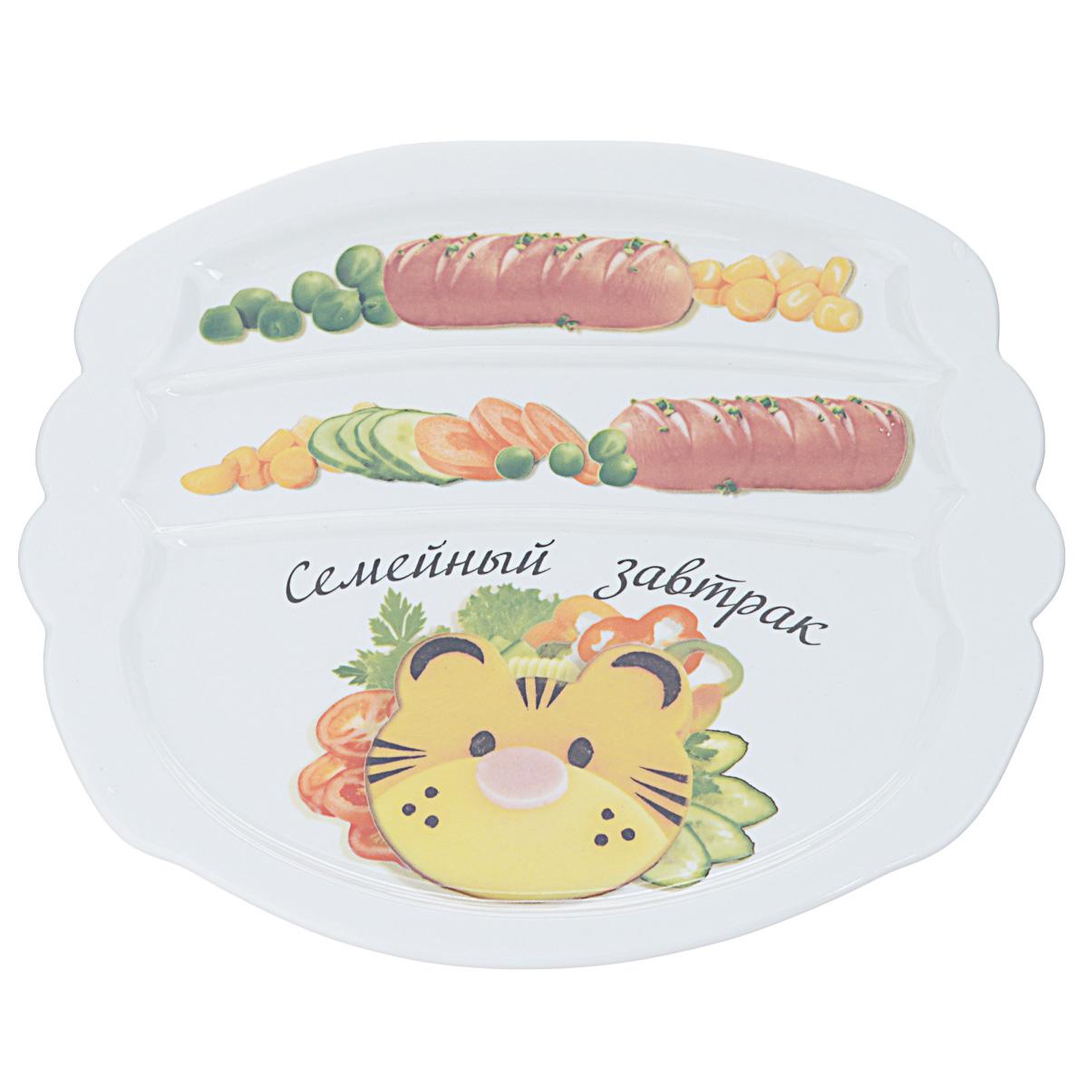 Тарелка для завтрака LarangE Семейный завтрак у тигра, 22,5 х 19 x 1,5 см589-311Тарелка для завтрака LarangE изготовлена из высококачественной керамики. Изделие украшено ярким изображением. Тарелка имеет три отделения: 2 маленьких отделения для сосисок и одно большое отделение для яичницы или другого блюда. Можно использовать в СВЧ печах, духовом шкафу и холодильнике. Не применять абразивные чистящие вещества.
