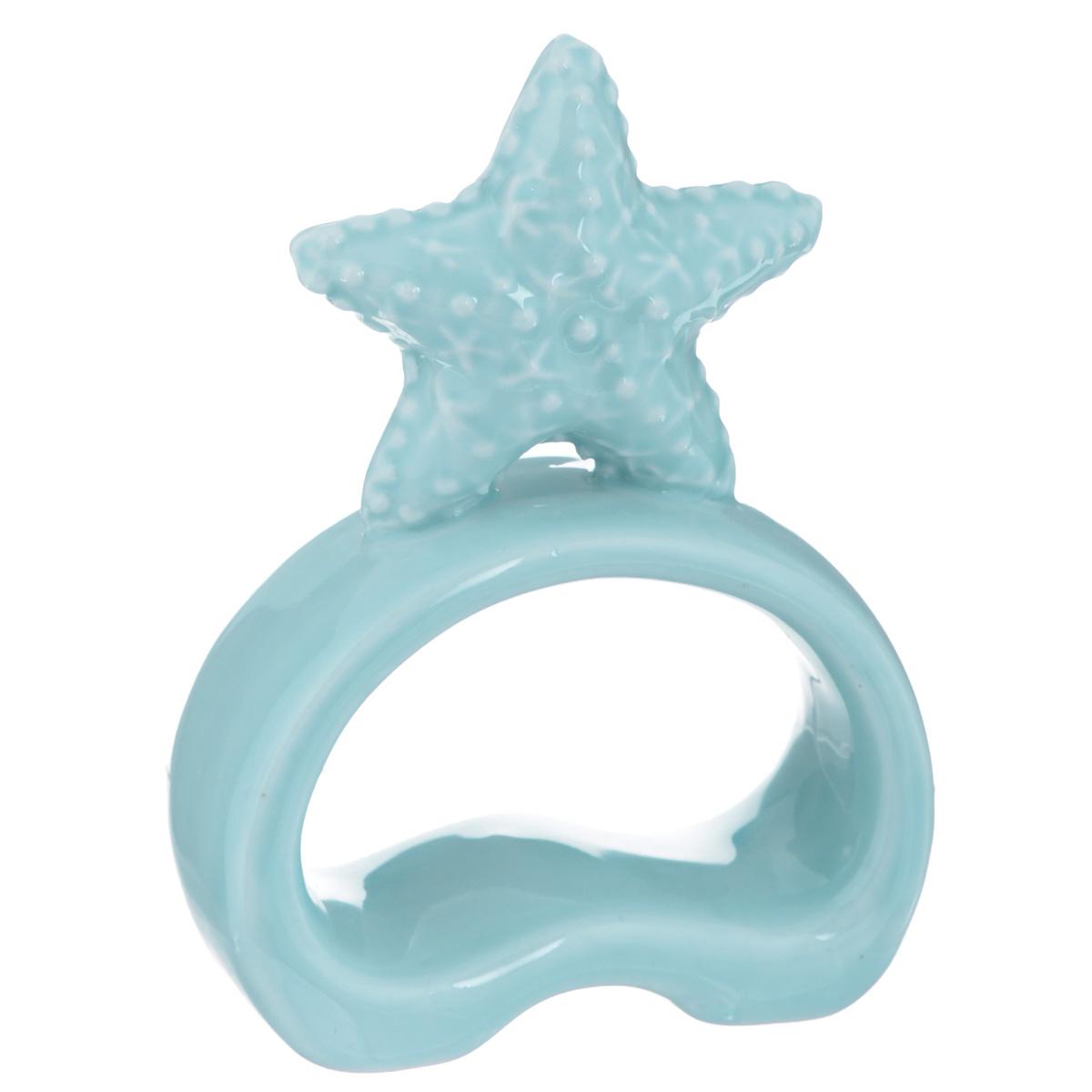 Фигурка декоративная Морская звезда, цвет: голубой, высота 10 см. 36768