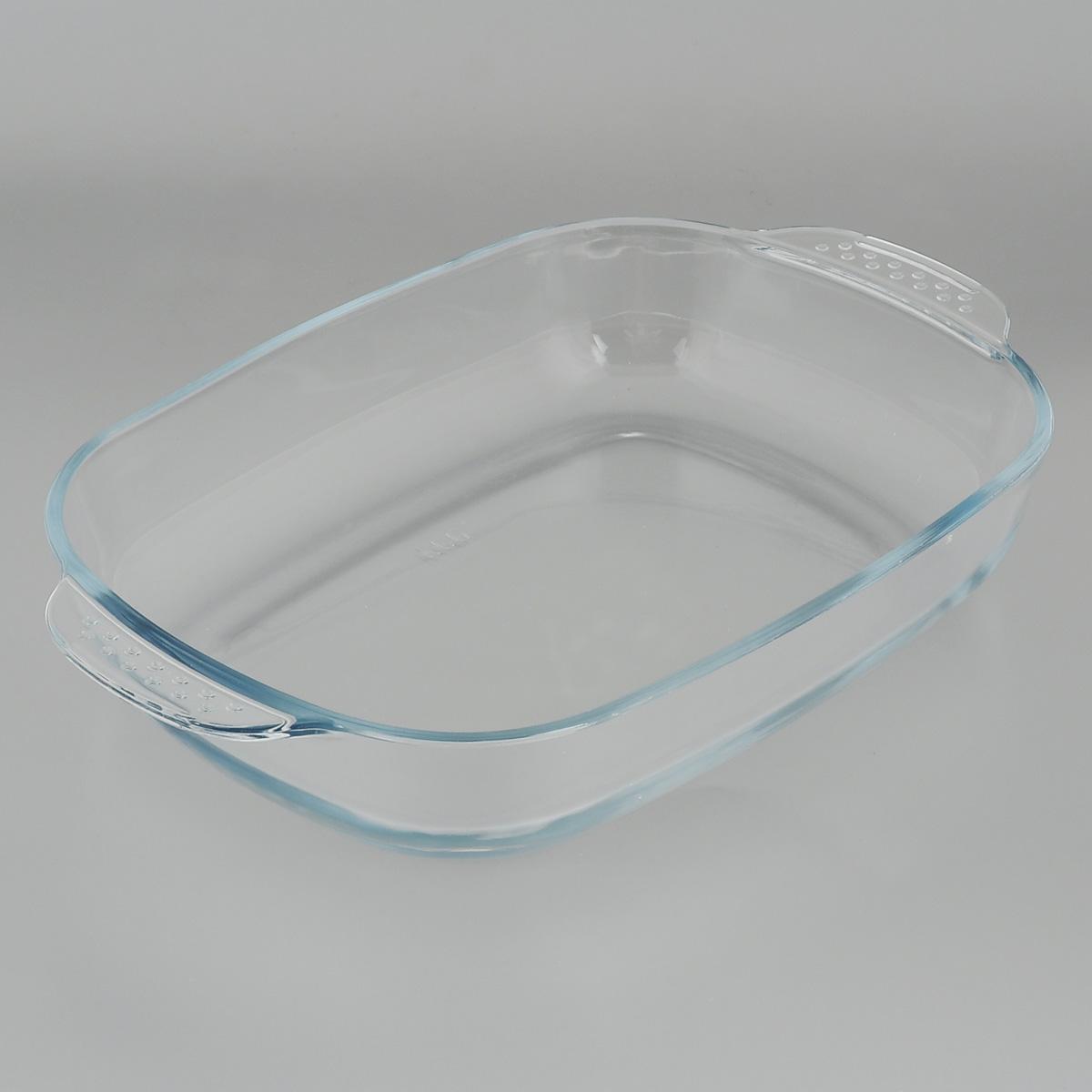 """Прямоугольная форма для запекания """"Mijotex"""" изготовлена из жаропрочного стекла,  которое выдерживает температуру до +450°С. Форма предназначена для  приготовления горячих блюд. Оснащена двумя ручками. Материал изделия гигиеничен, прост в уходе и обладает высокой степенью прочности.  Форма идеально подходит для использования в духовках, микроволновых печах,  холодильниках и морозильных камерах. Также ее можно использовать на газовых  плитах (на слабом огне) и на электроплитах. Можно мыть в посудомоечной  машине. Внутренний размер формы: 35,5 см х 26 см. Внешний размер формы (с учетом ручек): 41 см х 26 см.  Высота стенки формы: 6 см."""