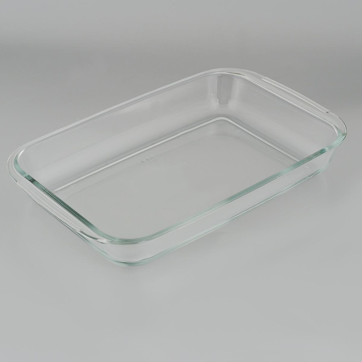 """Прямоугольная форма для запекания """"Едим Дома"""" изготовлена из жаропрочного стекла,  которое выдерживает температуру до +450°С. Форма предназначена для  приготовления горячих блюд. Оснащена двумя ручками. Материал изделия гигиеничен, прост в уходе и обладает высокой степенью прочности.  Форма идеально подходит для использования в духовках, микроволновых печах,  холодильниках и морозильных камерах. Также ее можно использовать на газовых  плитах (на слабом огне) и на электроплитах. Можно мыть в посудомоечной  машине. Внутренний размер формы: 26 см х 17 см. Внешний размер формы (с учетом ручек): 29 см х 17 см.  Высота стенки формы: 5 см."""