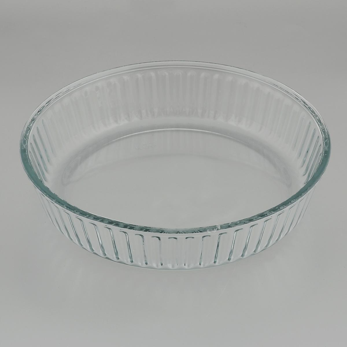 """Круглая форма для запекания """"Mijotex"""" изготовлена из жаропрочного стекла, которое выдерживает температуру до +450°С. Форма предназначена для приготовления горячих блюд. Материал изделия гигиеничен, прост в уходе и обладает высокой степенью прочности.  Форма идеально подходит для использования в духовках, микроволновых печах, холодильниках и морозильных камерах. Также ее можно использовать на газовых плитах (на слабом огне) и на электроплитах. Можно мыть в посудомоечной машине. Диаметр формы: 26 см. Высота стенки формы: 6 см."""